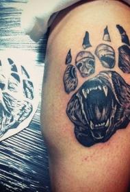 黑灰风格动物爪印腿与熊纹身图案