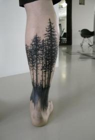 小腿黑色好看的树林纹身图案
