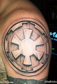 肩部星球大战银河帝国标志3D风格纹身图案