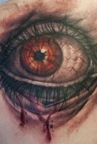 背部彩色3D逼真的人眼睛纹身图案
