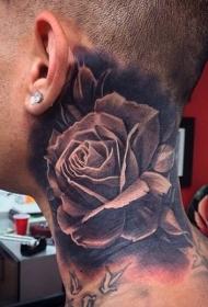 男性颈部3D黑色的大玫瑰纹身图案