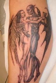 小腿天使和恶魔在舞蹈纹身图案