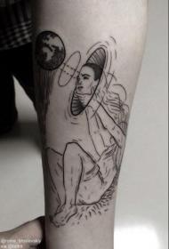 奇怪的黑色神秘人类手臂纹身图案
