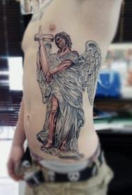 侧肋3D彩色的天使和十字架纹身图案