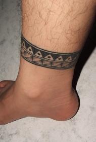 脚踝几何黑色图腾纹身图案