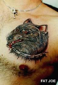 愤怒的狼头胸部纹身图案