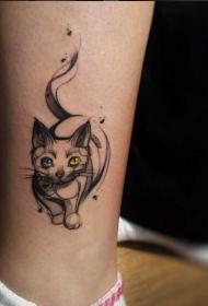 脚踝神秘的猫和双色眼睛纹身图案