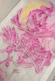 欧美骷髅死神纹身图案手稿
