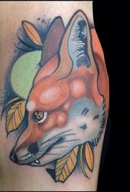 手臂卡通风格自然彩色大狐狸纹身图案