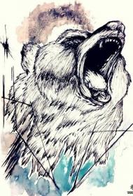 欧美熊纹身图案手稿
