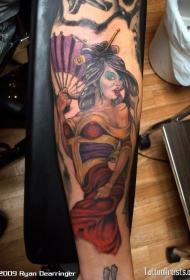 手臂日式性感艺妓彩绘纹身图案