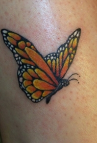 惊人的黄色小蝴蝶腿部纹身图案