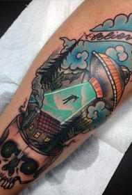 有趣的彩色外星飞船与骷髅小腿纹身图案