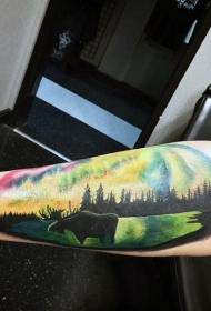 五彩野生麋鹿和风景手臂纹身图案