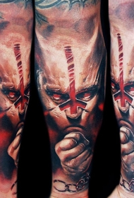 幻想风格很酷的恶魔人彩绘手臂纹身图案