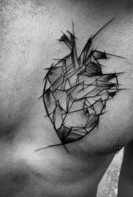 胸部钢笔画风格心脏纹身图案