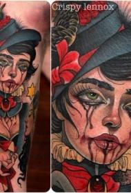 old school彩色的哭泣女人肖像手臂纹身图案