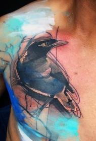 胸部抽象风格的彩色大乌鸦纹身图案