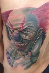 背部3D彩色邪恶的微笑小丑纹身图案