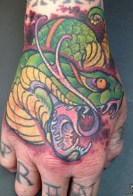 手背欧美彩色蛇纹身图案