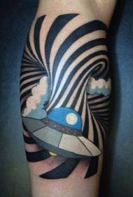 小腿卡通风格彩色飞船与催眠装饰纹身图案