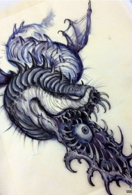 欧美school个性独特的蛇眼睛纹身图案手稿