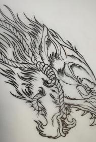 欧美狼头绳子school纹身图案线条手稿