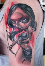 手臂new school原住民女孩纹身图案
