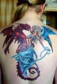 天使与恶魔龙彩绘背部纹身图案