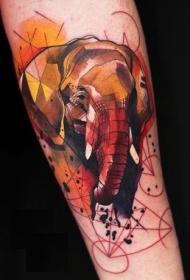 水彩大象头和几何手背纹身图案
