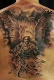 背部惊人伟大的天使救世主纹身图案