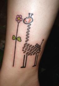 脚踝上心形长颈鹿与花朵纹身图案