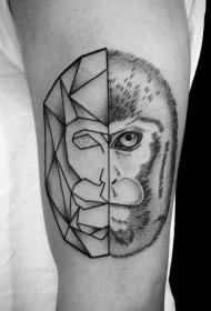 手臂异常组合黑色半写实半几何的猴头纹身图案