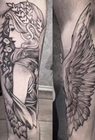 手臂非常漂亮的天使女人纹身图案