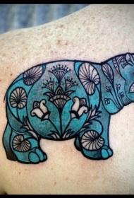 可爱的拼布蓝色河马背部纹身图案