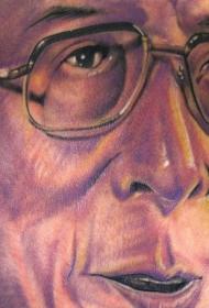 逼真的男性肖像彩色3D纹身图案