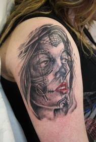 手臂黑暗的死亡女郎纹身图案