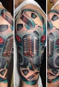 手臂梦幻般的3D音乐主题纹身图案