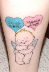 卡通新生的小天使纹身图案