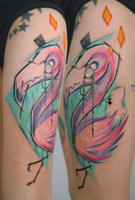 大腿五彩的绅士火烈鸟纹身图案
