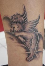 腿部小宝宝天使纹身图案