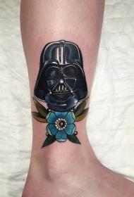 彩色的斯巴达面具与美丽花朵脚踝纹身图案