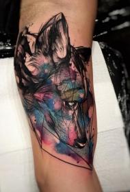 大臂彩色悲伤的狼头像纹身图案