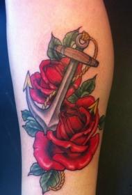 浪漫的船锚和红色玫瑰手臂纹身图案