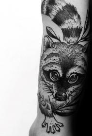 可爱的小浣熊点刺黑色手臂纹身图案