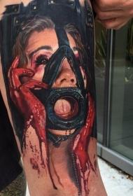 手臂可怕的3D血腥女人和面具纹身图案