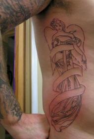 侧肋女性天使和丝带纹身图案