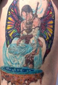 七彩的女性天使战士纹身图案