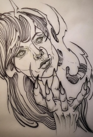 欧美女郎纹身图案线条手稿