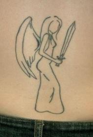 天使与剑轮廓黑色线条纹身图案
